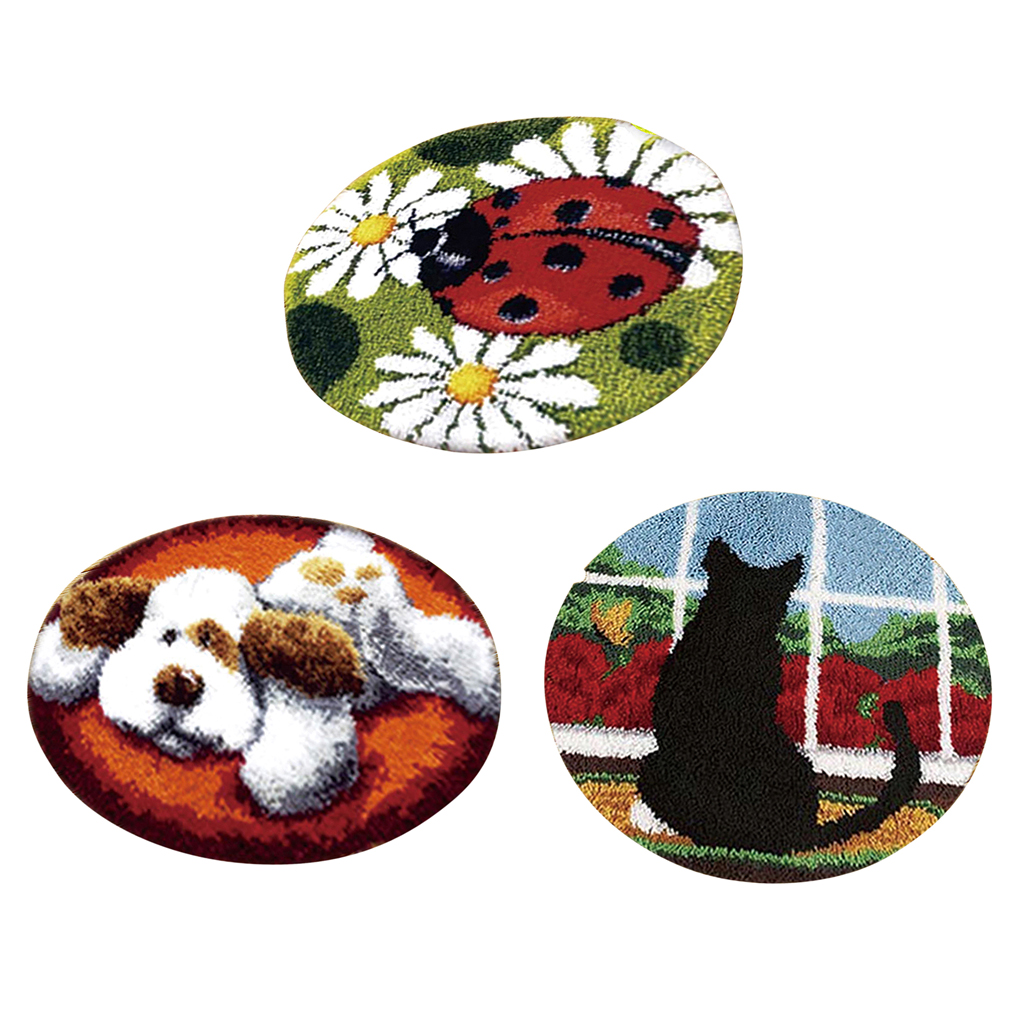 Us 38 56 46 Off 3 Sets Latch Hook Rug Making Kits For Beginners Diy Dog Cat Ladybird Embroidery Cushion Crafts In From Home Garden On
