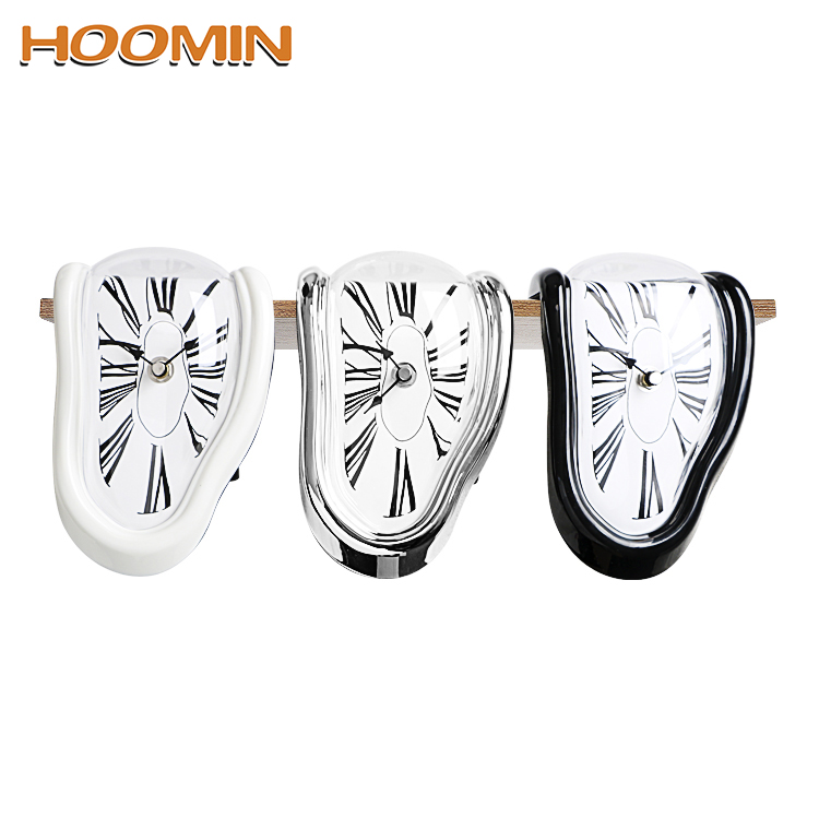 HOOMIN Creative Melting Clock Home Decoration Gift Surrealist Salvador Dali Style Clocks Surreal Distorted Wall Clock