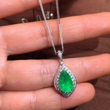 Fine Jewelry AGL Certificate Real 18K White Gold AU750 Natural Green Emerald 2.53ct Gemstones Pendants for Women Necklace