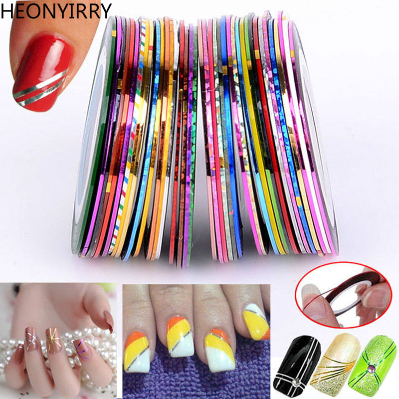 10/20/30Pcs Multicolor Nail Stickers Mixed Colors Rolls Striping Tape Line Nail Art Decoration Sticker DIY Nail Tips UV Gel Tips 20pcs lot mixed colors nail rolls striping tape line diy nail art decorations sticker for nails nail stickers