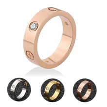 Fashion Rose Gold Stainless Steel Ring With Stone Crystal For Woman Girl For Men Couple In Wedding With Cross(China)