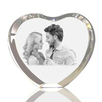 Personalized Custom 2D/3D Laser Engraved Crystal Frame Heart Shaped Etched Glass Photo Picture Heart Block for Wedding Gifts
