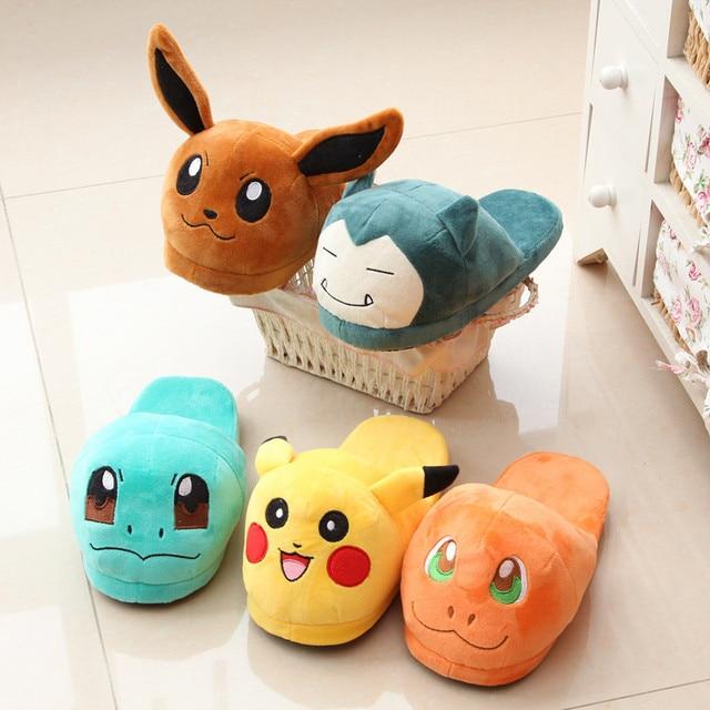 Women Anime Cartoon Pokemon Slippers Elf Ball Pikachu Eevee Umbreon Pokemon Go Plush Shoes Home House Winter Slippers Children