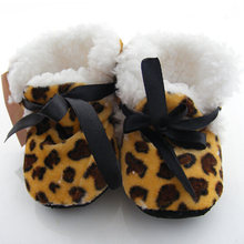Leopard Zebra Toddler Kids Fleece Fur Boots Baby Shoes Winter Laced Ankle Shoes(China)