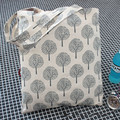 YILE Handmade Cotton Linen Eco Reusable Shoulder Bag Shopping Tote Fortune Trees White JR4