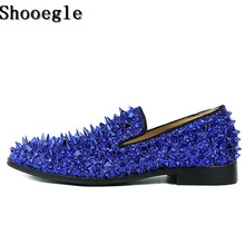 SHOOEGLE Factory Customized Red Green Blue Men Casual Shoes Sparkle Glitter Spiked Handmade Luxury Wedding Party Dress