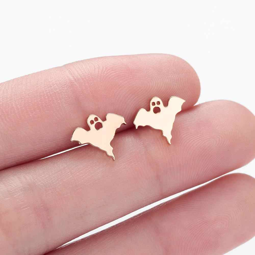 Chandler Tiny Small Stainless Steel Halloween Ghost Earrings Boho Gothic Minimalist Studs Earring For Women Kids Summer Jewelry