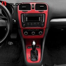Volkswagen Golf 6 MK6 GTI подкладке центральной Управление Панель защиты углеродного волокна наклейки автомобиль Стайлинг для VW аксессуары