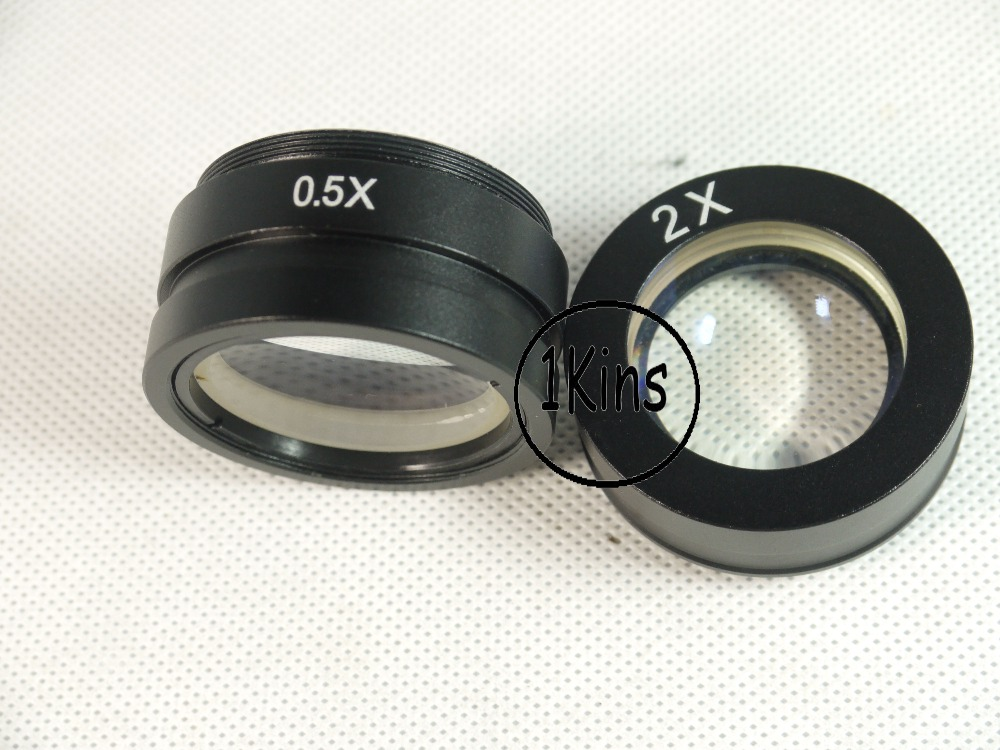 ФОТО Free shipping 2pcs/lot 0.5X & 2.0X industry microscope Camera Objective lens for 10A C-MOUNT lens Barlow Auxiliary Glass Lens