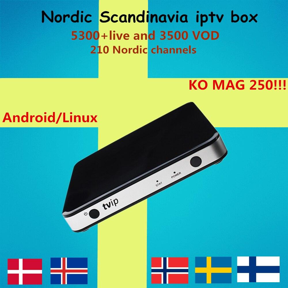 Suède IPTV VCPMO 605 Android/Linux Smart TV Box + 5000 canaux Mag IPTV Nordique Norvège Europe Israël USA ROYAUME-UNI portgual KO MAG25X
