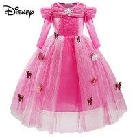 Disney Princess Dress Cinderella Girl Fluffy Dress Ice Romance Performance Long Sleeve Fashion Dress
