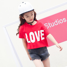 Summer Style Child Girls Red Tees Prints LOVE Short Sleeved T-shirts 2017 Cotton tshirt Kids Letters Loose Children tops 5 – 14T