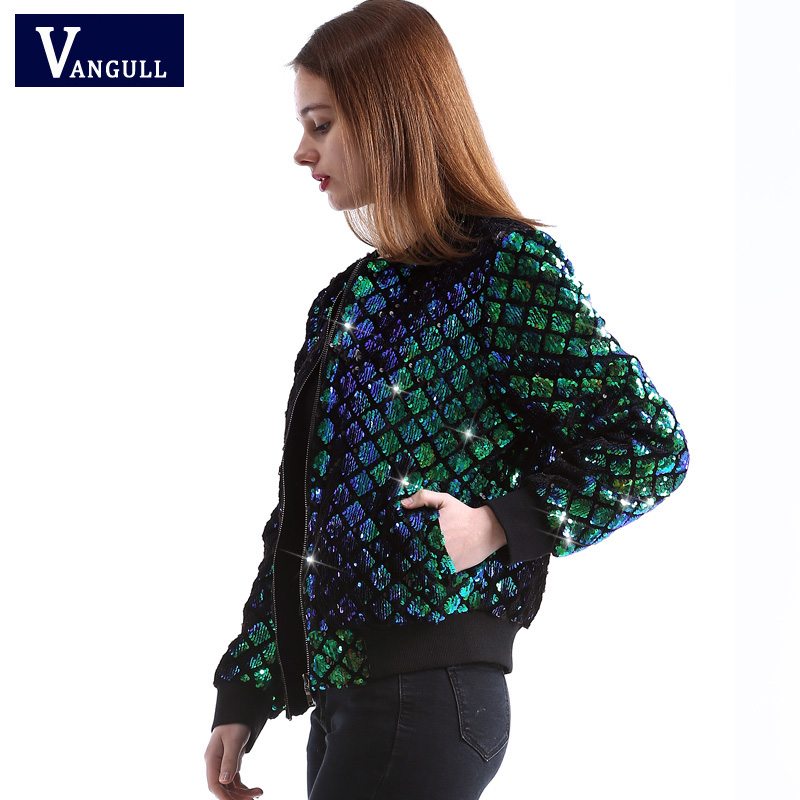 Vangull New Spring Autumn Women Sequin Coat Green Bomber   Jacket   Long Sleeve Zipper Streetwear   Jacket   Preppy Casual   Basic   Coat