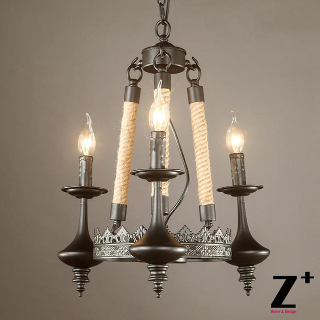 American Style Vintage Linen Rope Candle Chandelier Candlestick Lamp Black Iron