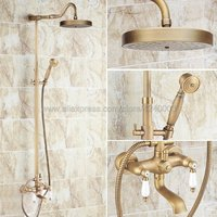 Shower Faucets Antique Brass Shower Set Faucet Tub Mixer Tap Handheld Shower Wall Mounted Krs119