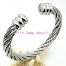 Fashion Twisted Cable Bracelet Stainless Steel Silver /Silver&Gold Charm Open Cuff Bangle Cable Wire Bracelet Pulseras Jewelry