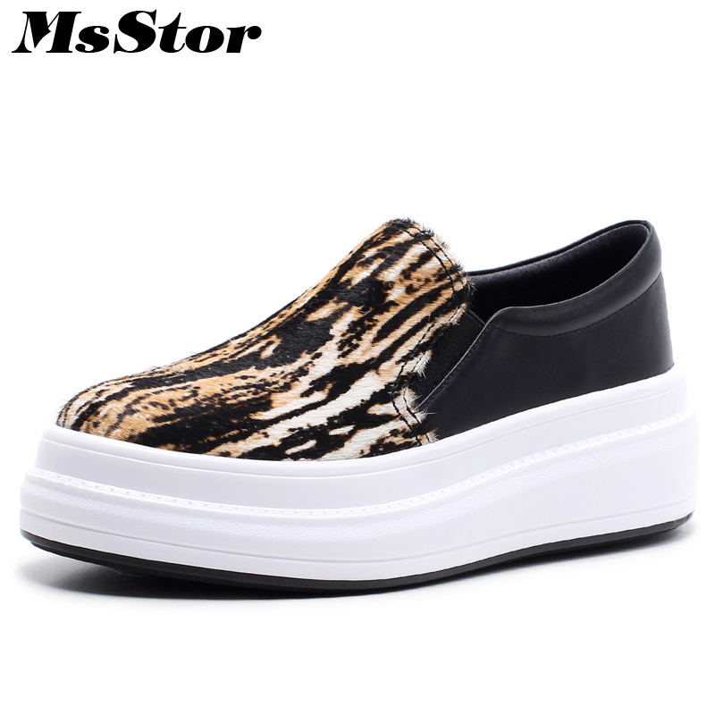 MsStor Round Toe Horse Hair Women Flats Casual Fashion Ladies Flat Loafers Shoes 2018 Spring Leopard Grain Women's Flat Shoes fashion horse hair tassels ornament flat shoes loafers shoes black pair size 35