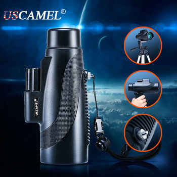 Compact Hunting Monocular Professional Scope Big Vision for Bird Watching 10x Optic Waterproof Telescope Zoom Scalable USCAMEL