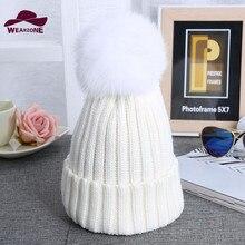2017 женщины Skullies Лисий мех мяч cap пом англичане зимнюю шапку для женщины девушки hat трикотажные шапочки кап новый толстая женщина cap