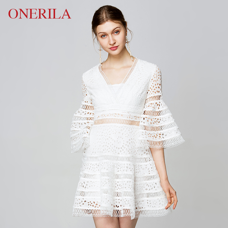 ONERILA 2 Piece Set Women High Quality Short Dress 2018 Summer Sexy Cotton A Line Flare Sleeve V Neck Hollow Out White Dresses