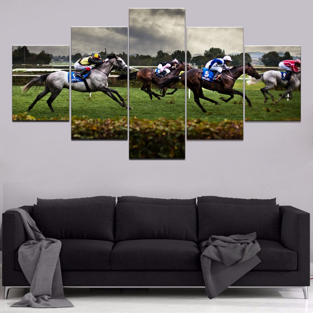 Canvas Painting Home Decorative Living Room 5 Pieces Horse Race Pictures HD Prints Abstract Animal Poster Wall Art Framework