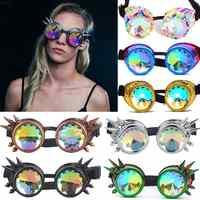 Occhiali occhiali steampunk Punk Gotico Occhiali Cosplay Vintage Rivetto Steampunk Goggle caleidoscopio occhiali Retro EDM Occhiali Da Sole