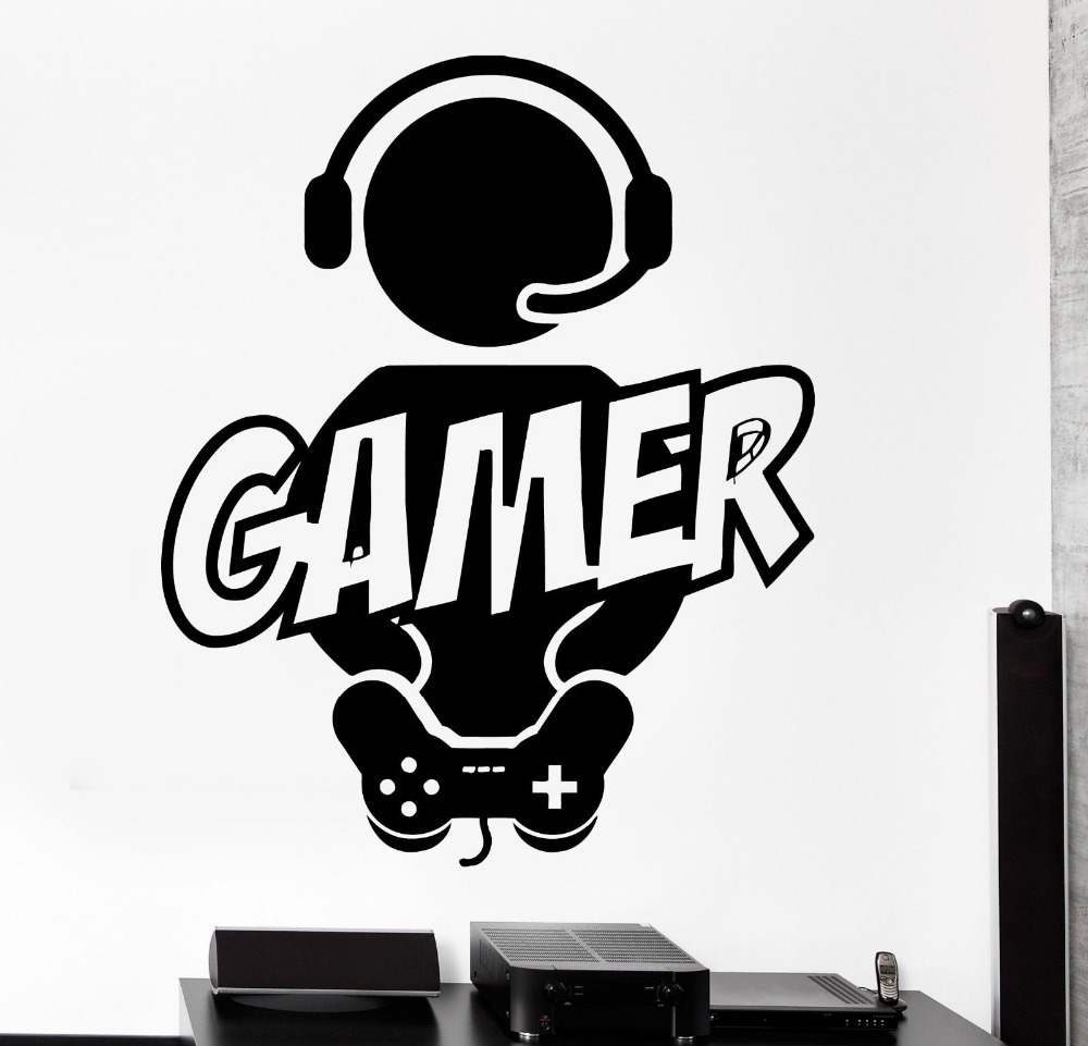 boy gamer vinyl wall decal gamer play room video games joystick