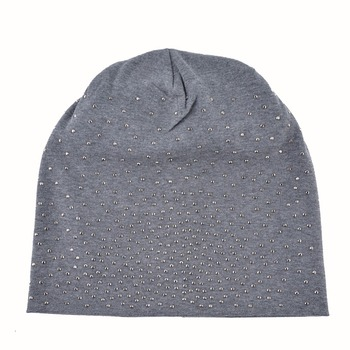 Fashion Skullie Rhinestone Beanie Hats For Women Solid Color Skullies Beanies Female Casual Cotton Bonnet Caps Ladies Gorras 2