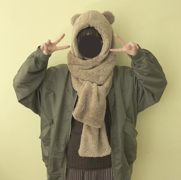 Winter warm bear ear hat