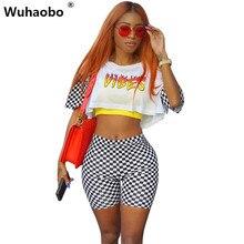 Wuhaobo 2017 новые летние женские комбинезоны Vibes принт короткий комбинезон Мода с эластичной талией 2 из двух предметов комбинезон боди