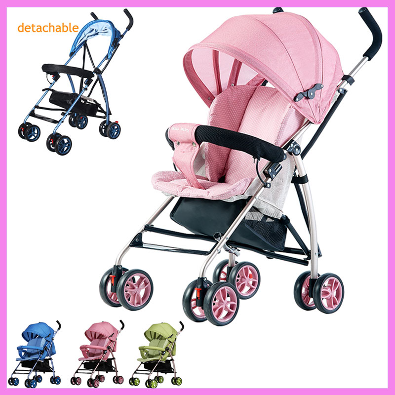 Baby Umbrella Stroller Can Lie Flat Ultra Light Four Wheels Stroller Removable Cushion Portable Travel System Car Airplane 0~3Y