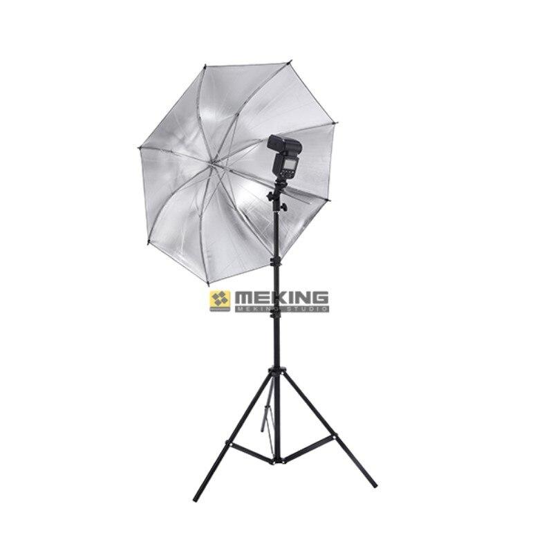 Meking photo studio kit w803 Light Stand + Flash Bracket B Mount + 33inch Silver & Black Umbrella for Speedlite Shooting 3in1