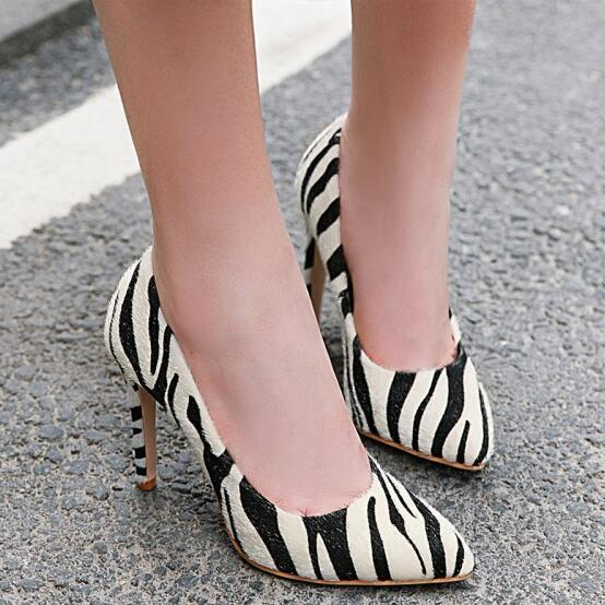 PXELENA High-Heel Shoes Stiletto Pumps Striped Spring Pointed-Toe Office Sexy Women Horsehair