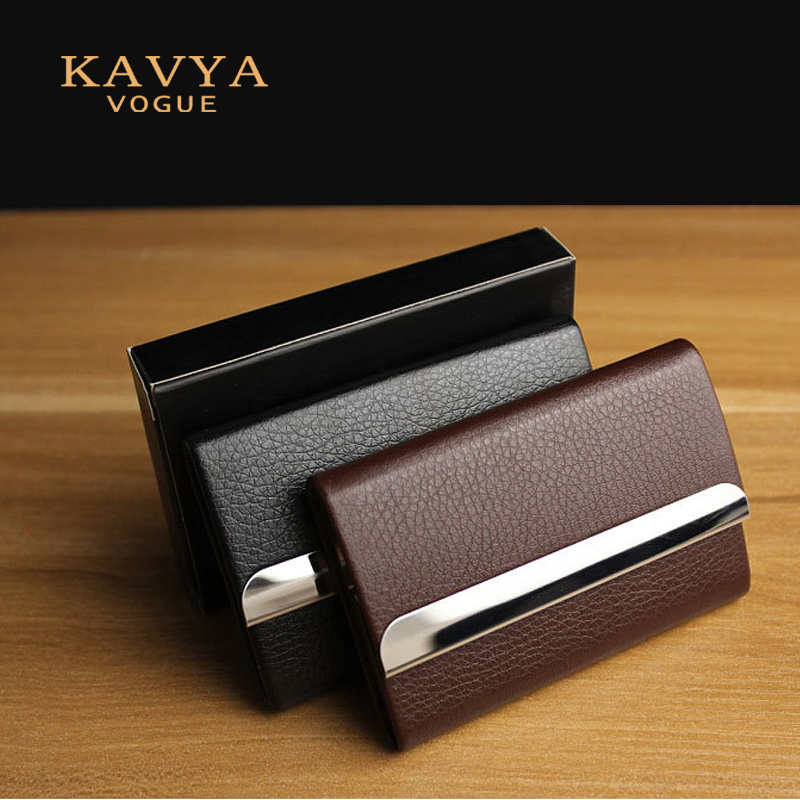 Kavya  New Bussiness Namecard Holder Genuine Leather ID Card Case Bank Card Holder Card Organizer Wallet Gift Package