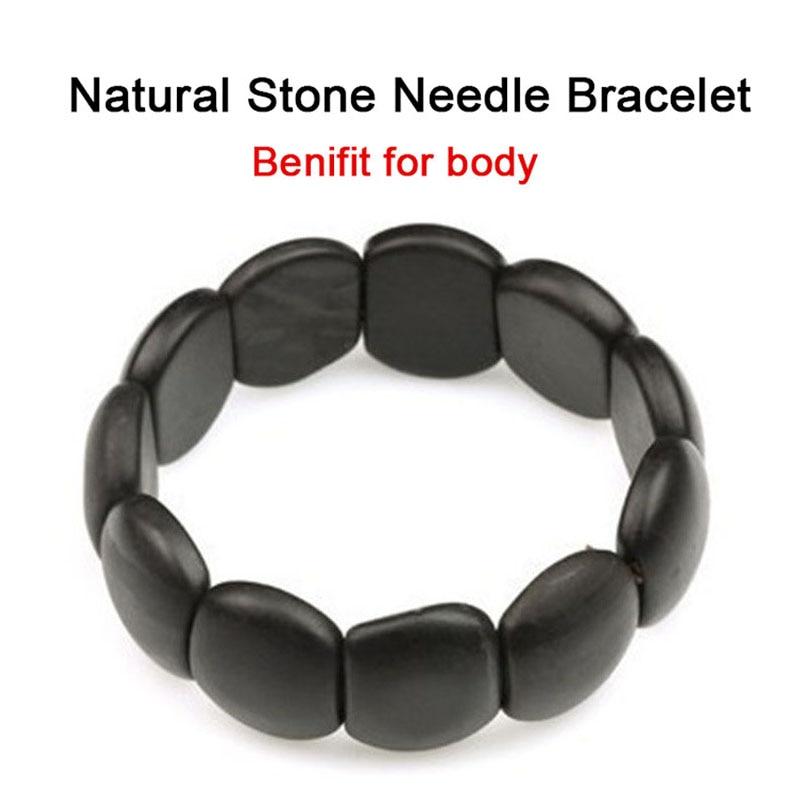 Black Natural Bianshi Bracelet Benefits Tools for Women Men Health Care Made of Natural Stone Needle Jade Bian Massage Bracelet