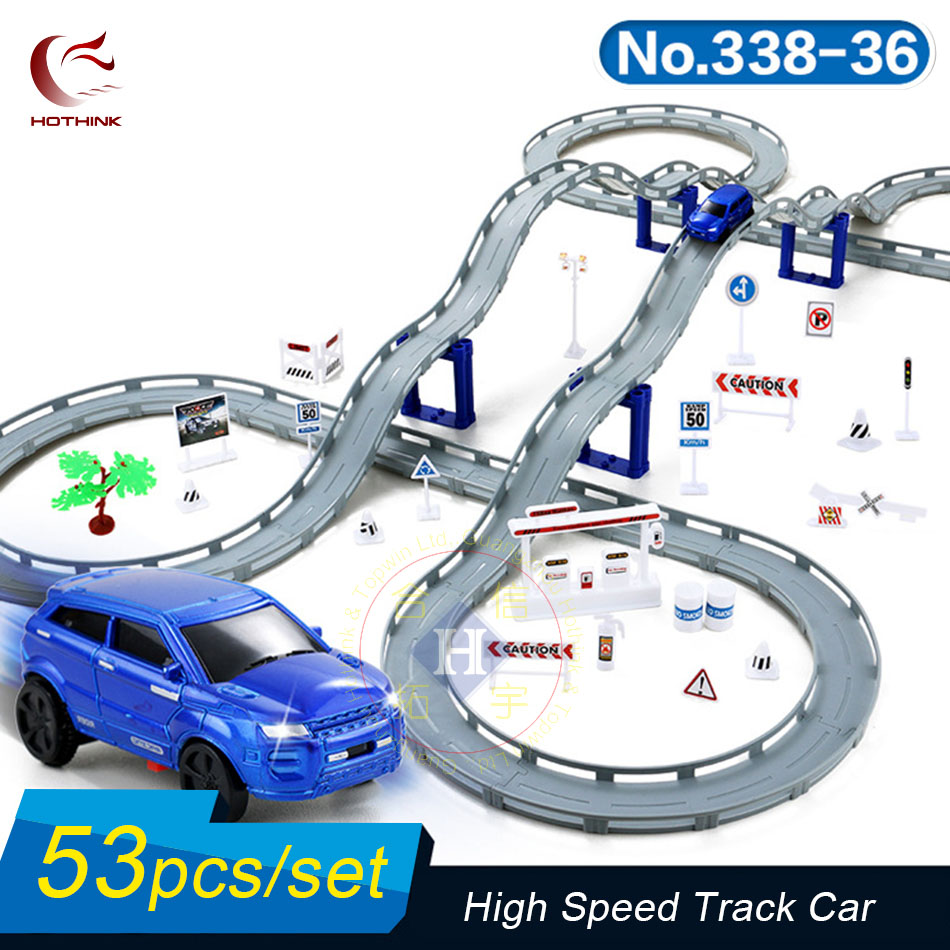 Hothink 53pcs/setElectric Rail Track Car Train Model Bridge Railway Highway Overpass Racing Road Toy Building Sets for Kids