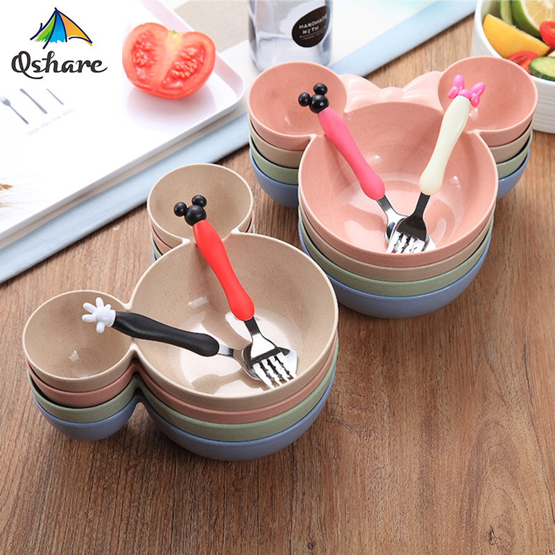 Qshare Bamboo 3PCS Baby Wheat Tableware Feeding Mickey Dishes Infant Bowl Kid Plate Food Feeding Dinnerware Set For Children