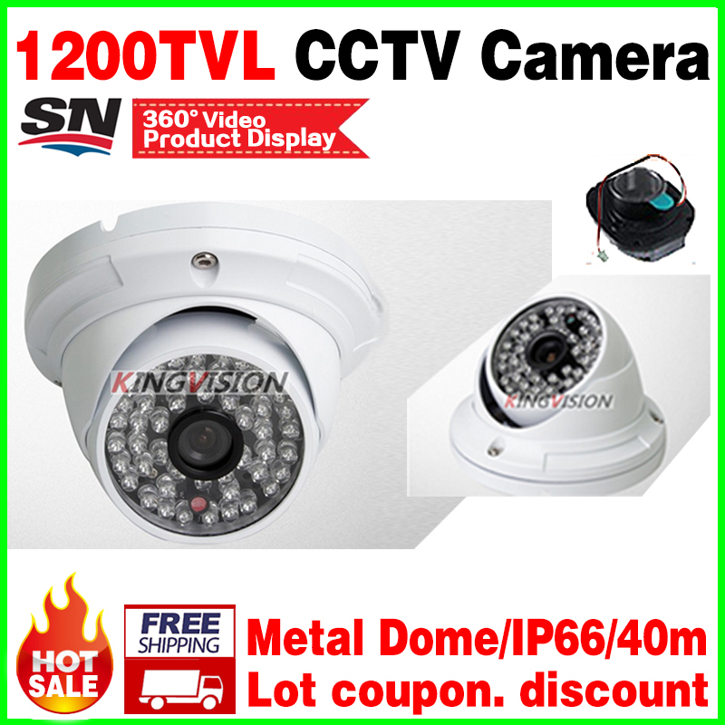 High End Style!Metal Dome 1/4cmos 1200TVL CCTV Hd camera 48pcs led infrared Night Vision IR-CUT waterproof IP66 security vidicon hd 1200tvl cmos ir camera dome infrared plastic indoor ir dome cctv camera night vision ir cut analog camera security video cam