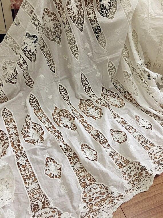 Style Vintage pur coton Crochet dentelle tissu, robe de mariée robe de mariée robe de bal Haute Couture coton dentelle tissu 130cm de large