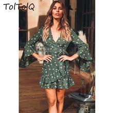 e9f557ad2ead75 TolTolQ 2018 Sexy Herbst Kleidung Neue Muster Horn Hülse Kurze Wind Lotus  Blatt Club Party Elegante Kleid Boho Elegante Vestides