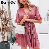 5bf7eac374844 BerryGo Women Dresses Summer Dress Sexy V Neck Polka Dot Layer Ruffle  Chiffon Sundress Elegant Zipper. US $31.65 US $16.46. BerryGo kadın  elbiseler yaz ...