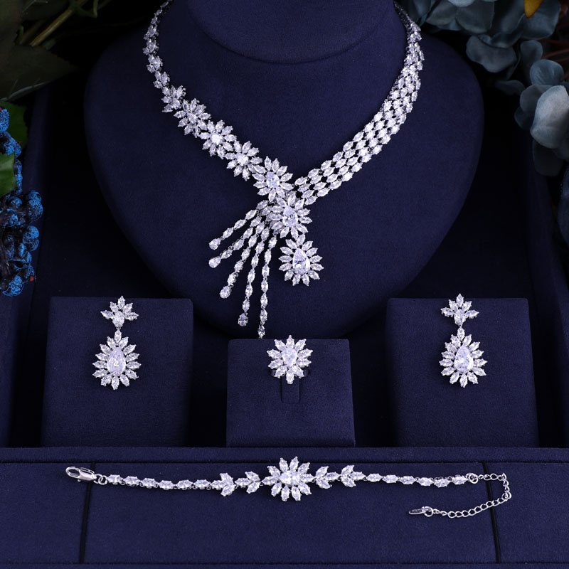 Jewelry-Sets Crystal Dubai Jankelly Party Bridal-Zirconia Nigeria African Women 4pcs