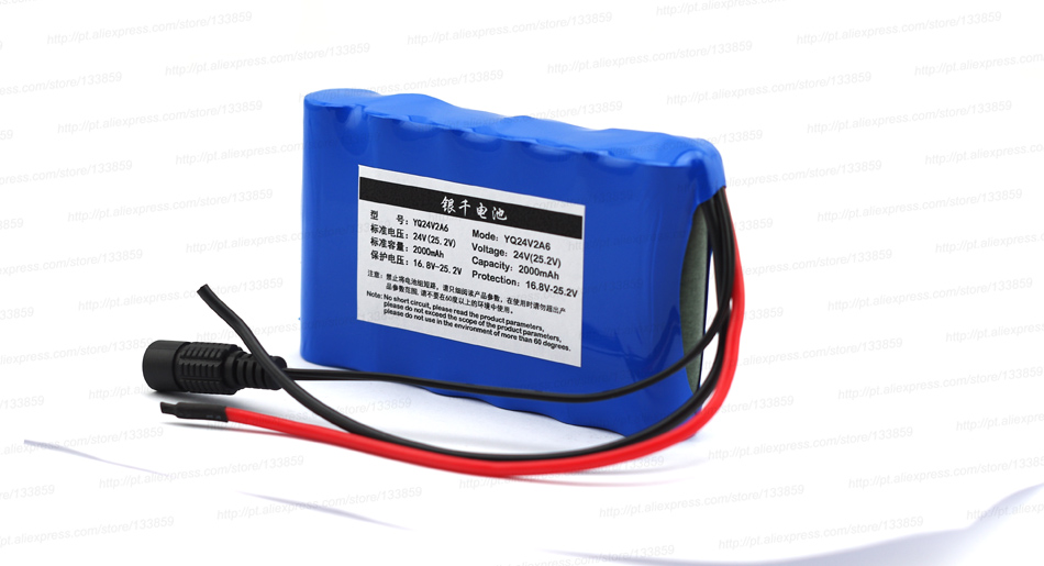 24 V 2000 mah lithium battery 25.2V 2 A is suitable for small motor/motor/LED lighting equipment+Protection board