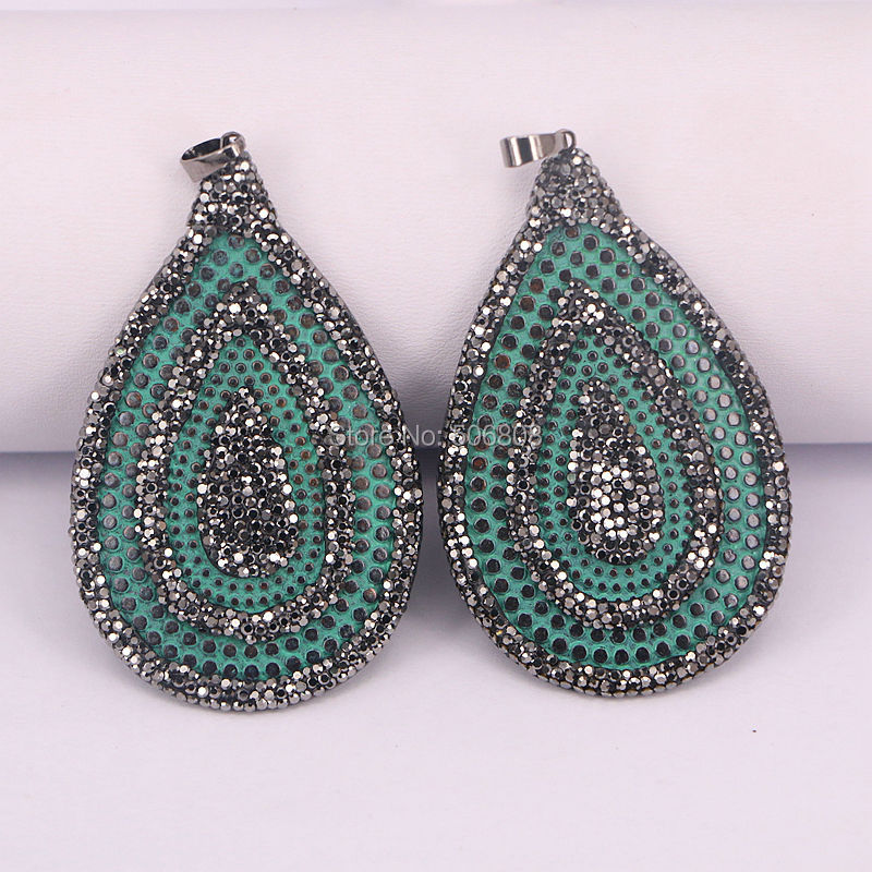 6PCS Retro Metal Green Water Drop Shape pendants charms with rhinestone paved For DIY Jewelry ZYZ160-8411
