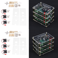 2x Acrylic Stack Case Enclosure Open Air Dog Bone + Fan for Raspberry pi 8Pcs Acrylic Sheet 6Pcs Cooling fan