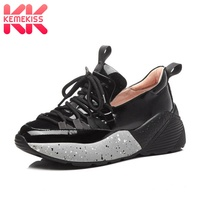 KemeKiss Women Sneakers Genuine Leather Casual Shoes Women Spring Lace Up Jogging Fitness Trainers Wedges Sneaker Size 35 39