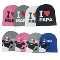 2017 fashion spring baby hats knitted warm cotton toddler beanie baby girl boy I LOVE PAPA MAMA print kids cap for 1-3 years old