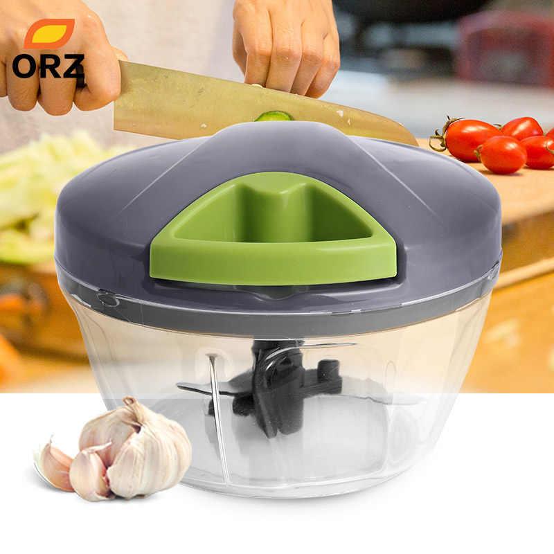 ORZ Handhelp Chopper Cortador de Legumes Triturador Processador de Alimentos Moedor de Carne Manual Picador De Frutas Misturador Liquidificador de Cozinha Acessórios