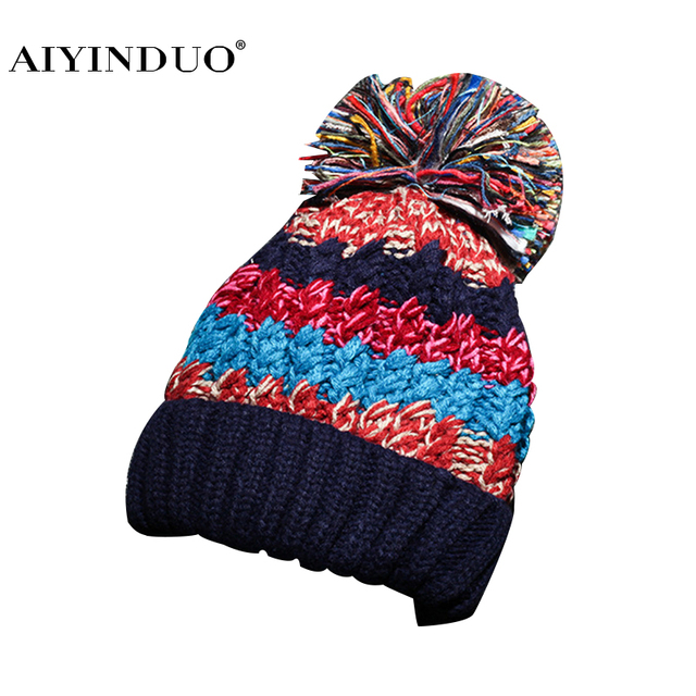 99e1d7fb4d5 New Fashion Korean Style Women Winter Caps Female Mixed Color Warm Woolen  Cap Classic Hat Casual Striped Pattern Pom Poms Beanie
