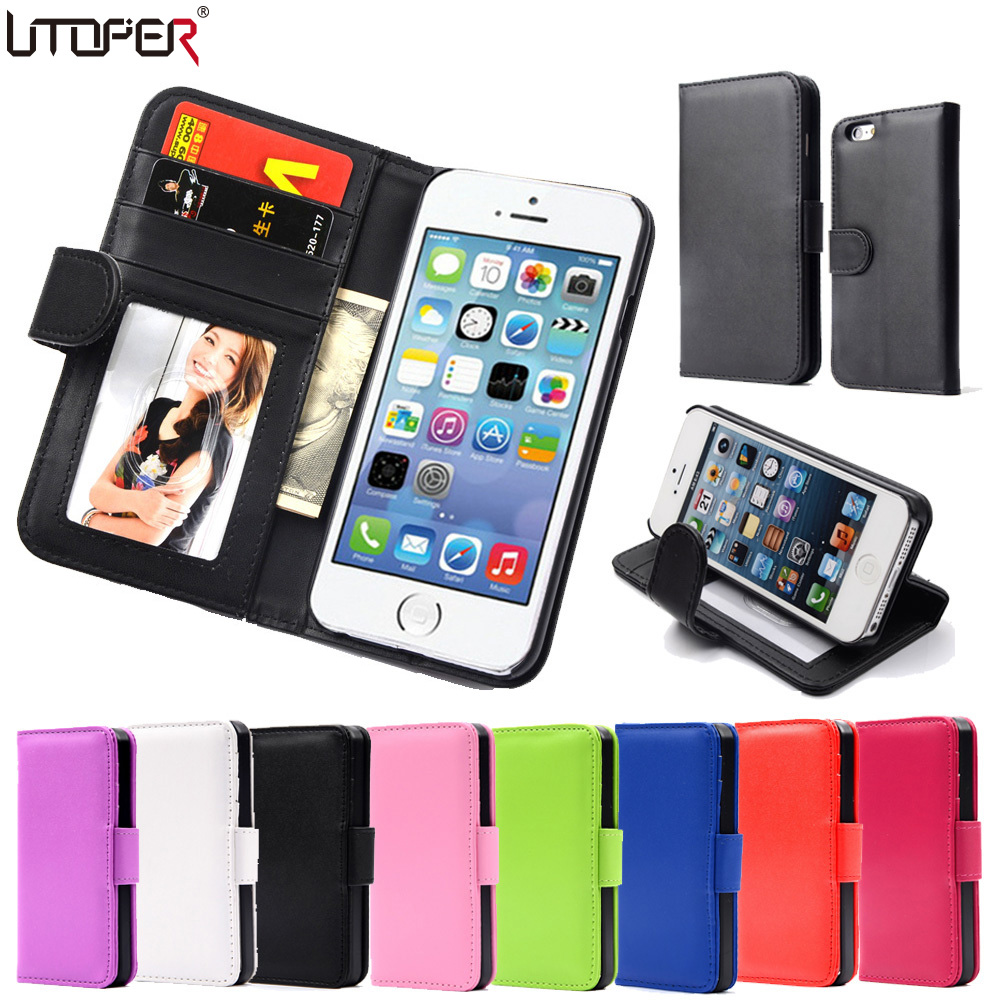 Hot Wallet Flip PU Leather Case For Apple iPhone 4 4S 4G Magnetic Case with Photo Frame Card Holder Smart Stand Skin Bags Cover